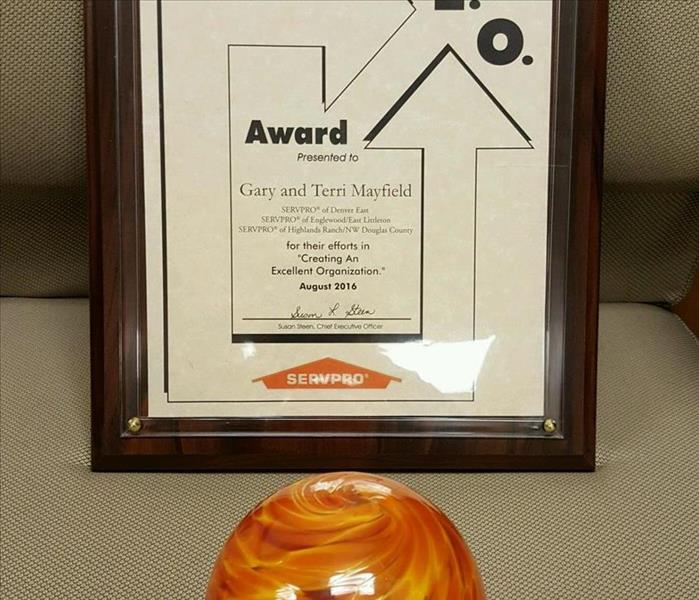 2016 C.E.O. Award from SERVPRO Industries (Creating an Excellent Organization)